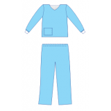 Костюм медичний з довгим рукавом (сорочка медична, брюки медичні) (розмір 46-48 (М)) (СМС) стерильни